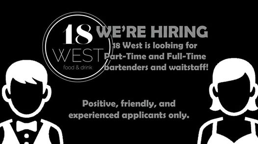 Join our staff! - We're looking for experienced servers and bartenders to join our team! For more information on what we're looking for or how to apply click here or visit the bartender on staff!