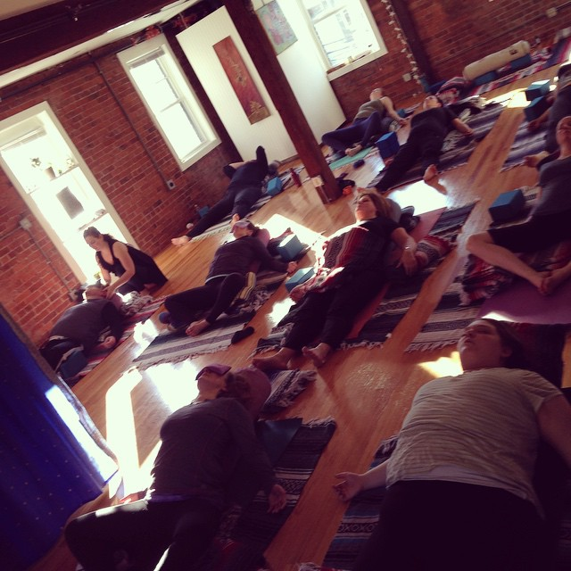 RadicallyRestorativeYoga...co-lead this worskshop today @Akasha in JP with Alex B.