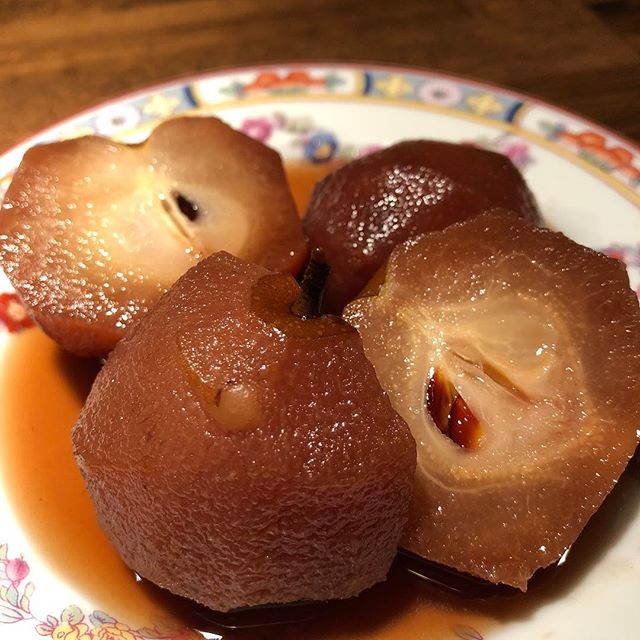 Yummy poached pears from a thoughtful neighbor #olivetteliving #pearharvest #communityorchard #goodneighbors