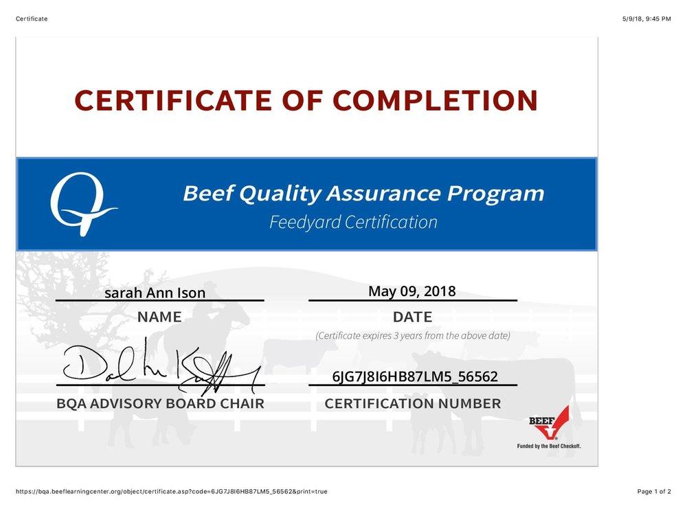 BQA certification