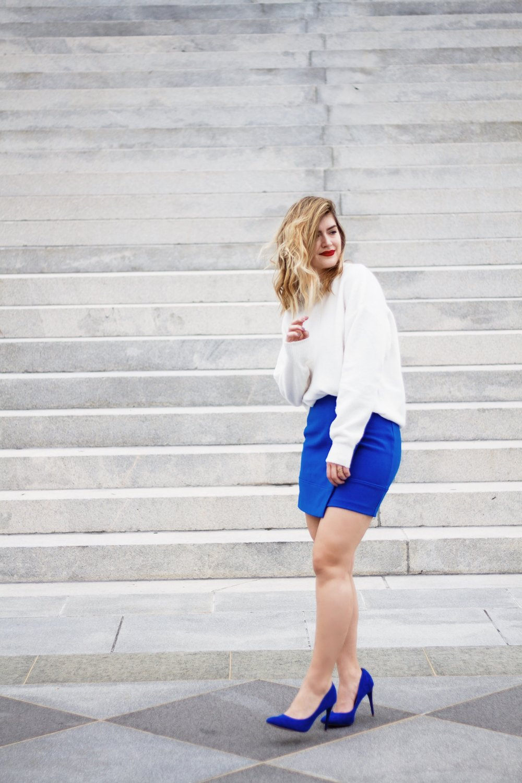 white-sweater-blue-mini-skirt