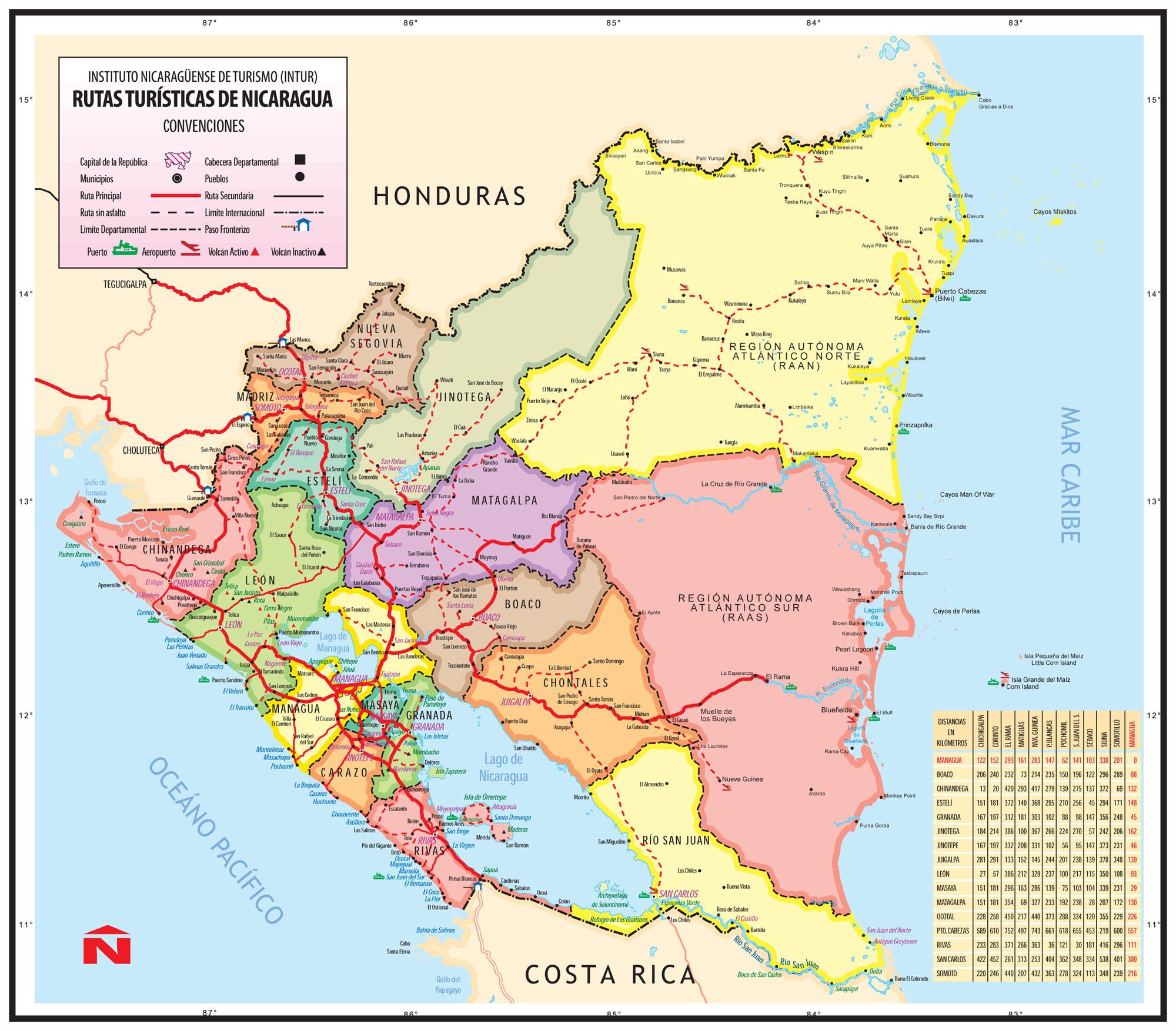 map of nicaragua — austin samaritans - largemapofnicaragua nicaragua's main routes