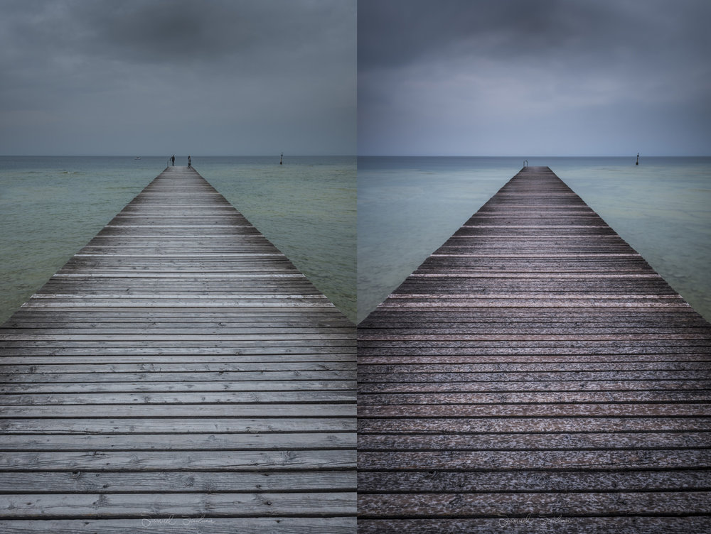 2 shots of a pier in Lago di Garda; The image on the left was shot at 1/15 second, ISO64 at F16. The image on the right is a long exposure shot using a Haida 10 stop neutral density filter. The exposure details for this image is 120 seconds, ISO64 at F16