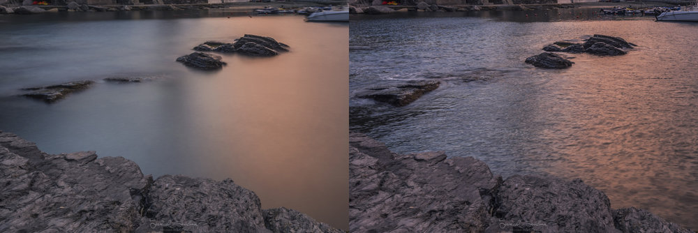 A closeup to show the difference between the photo using the 10 stop neutral density filter (Left) and without the 10 stop neutral density filter (Right).