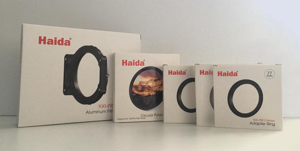 Haida 100-Pro Series Aluminium Filter Holder, Haida NanoPro Circular Polarizer Filter and the necessary adapter rings to fit my various lenses.
