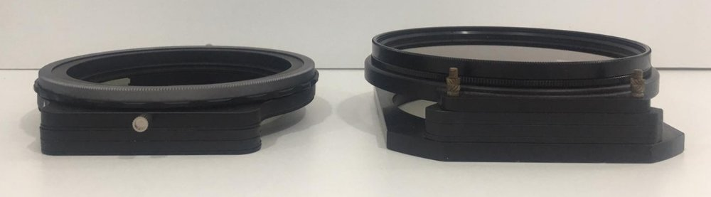 Left – Haida 100-Pro filter holder with Nano Pro Circular Polarizer; Right – Formatt Hitech Holder with the huge 105mm Circular Polarizer on the front.