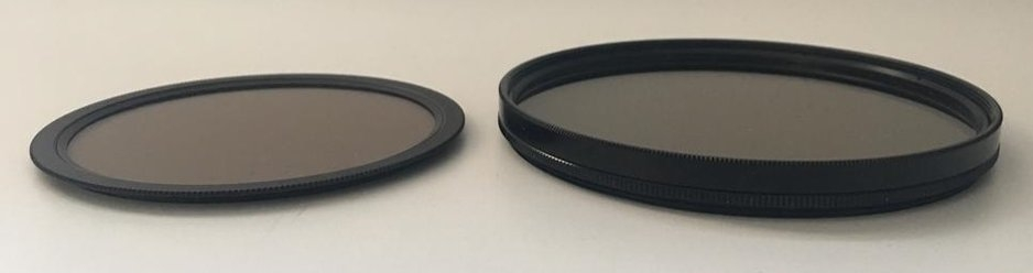 Size comparisons between the Haida Nano Circular Polarizer (Left) and the 105mm Circular Polarizer used with the Formatt Hitech holder (Right).