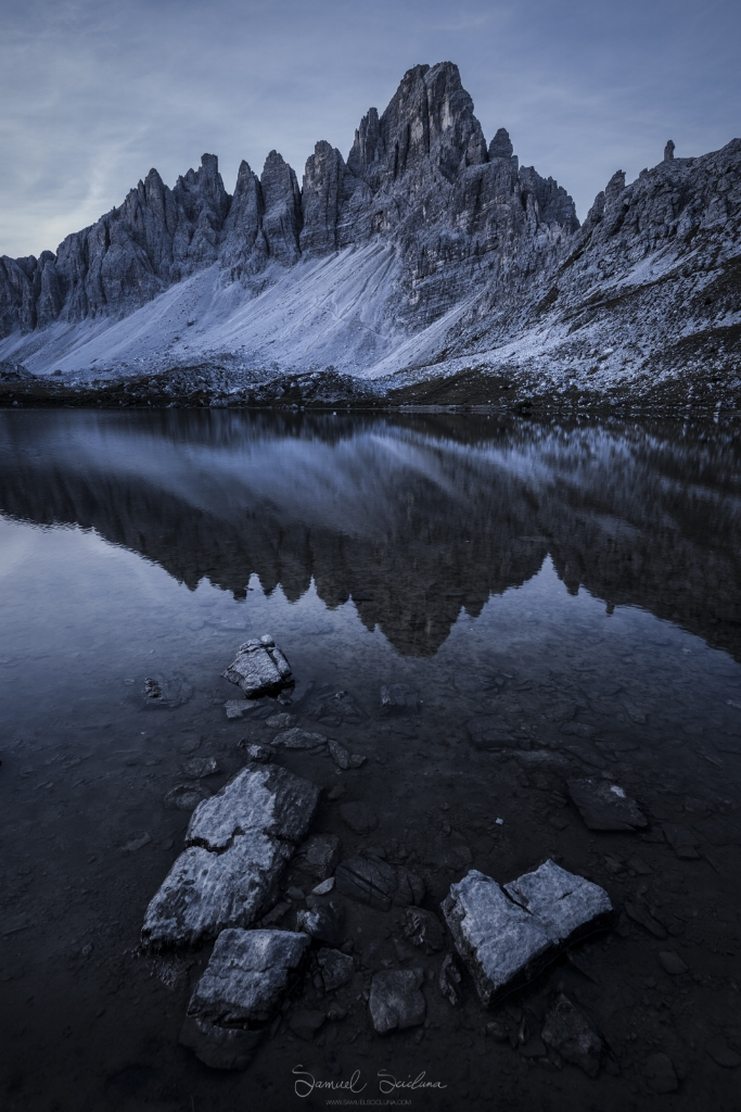 Reflections in a mountain lake.