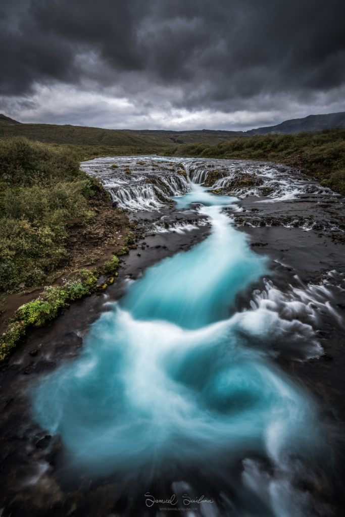 Bruarfoss waterfall looks otherworldly with its gorgeous blue hues!