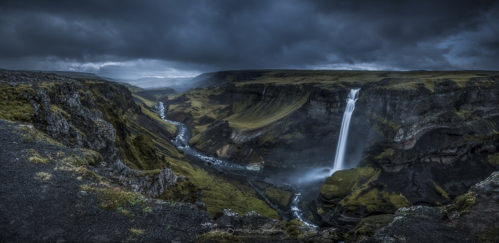 A pano of Háifoss in the highlands of Iceland.