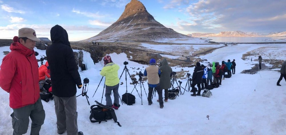 Kirkjufell is a very popular location at sunset, you can see that if you don't get there early, you won't find a spot!