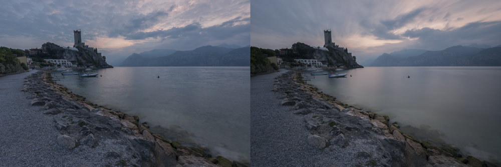 Sunset at Lago di Garda showing the difference without any filter (Left) and with the Haida 10 stop neutral density filter (Right).
