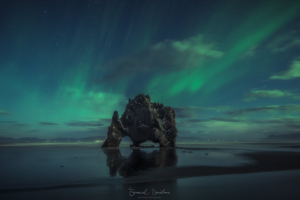 Hvítserkur sea stack in the North of Iceland with a KP2 level display of the Auroras.