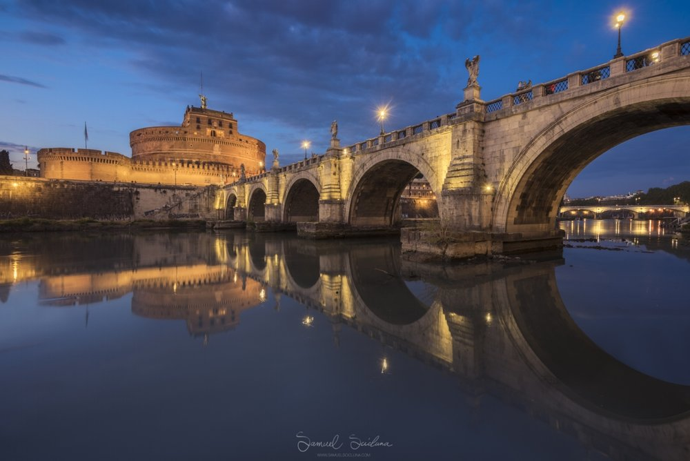 Ponte St Angelo and Castel St Angelo in the blue hour.