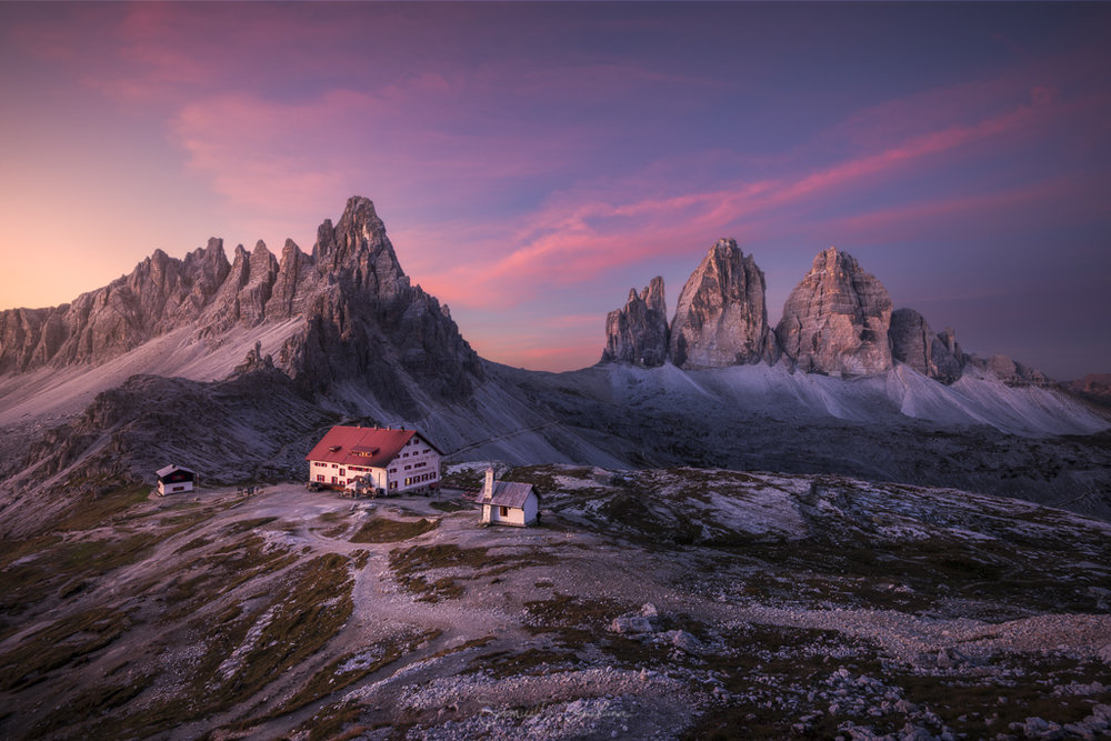Soft light before Sunrise hits Monte Paterno and the Tre Cime.