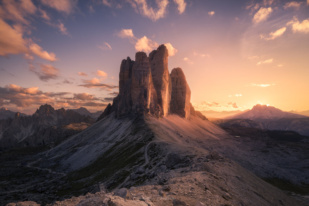 The Tre Cime at sunset from the saddle.