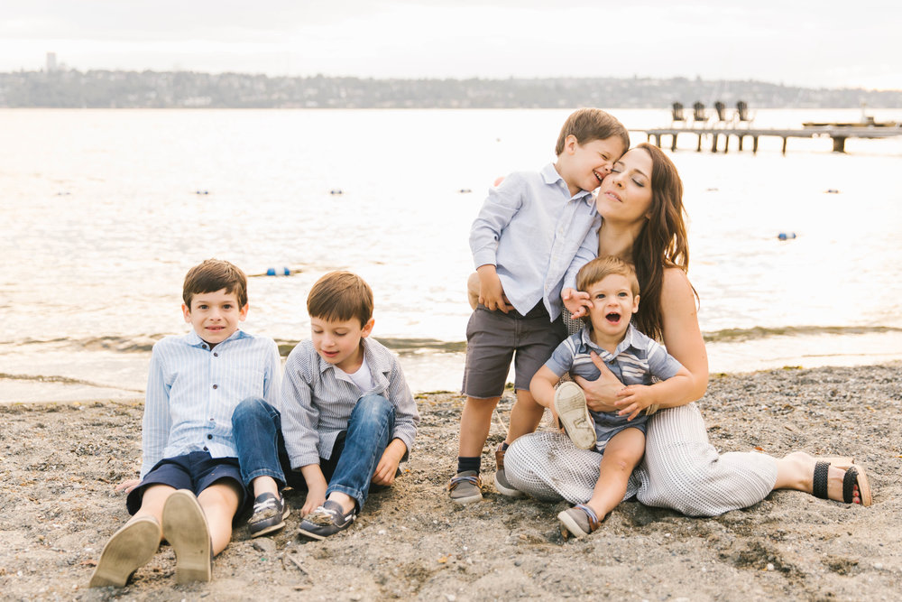 Seattle Family Photography Beach Session Golden Hour Natural Light, Mom and Boys, sunset on the water by Chelsea Macor Photography-24.jpg