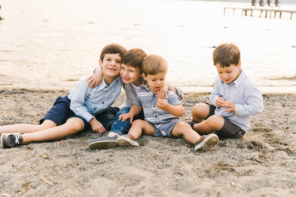 Seattle Family Photography Beach Session Golden Hour Natural Light, Mom and Boys, sunset on the water by Chelsea Macor Photography-23.jpg