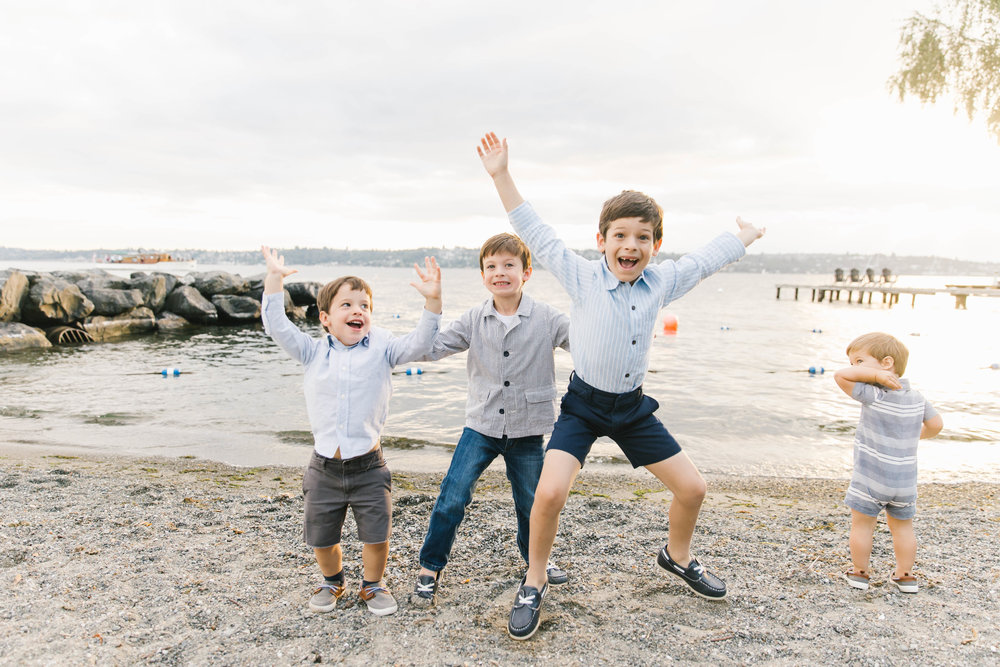 Seattle Family Photography Beach Session Golden Hour Natural Light, Mom and Boys, sunset on the water by Chelsea Macor Photography-8.jpg