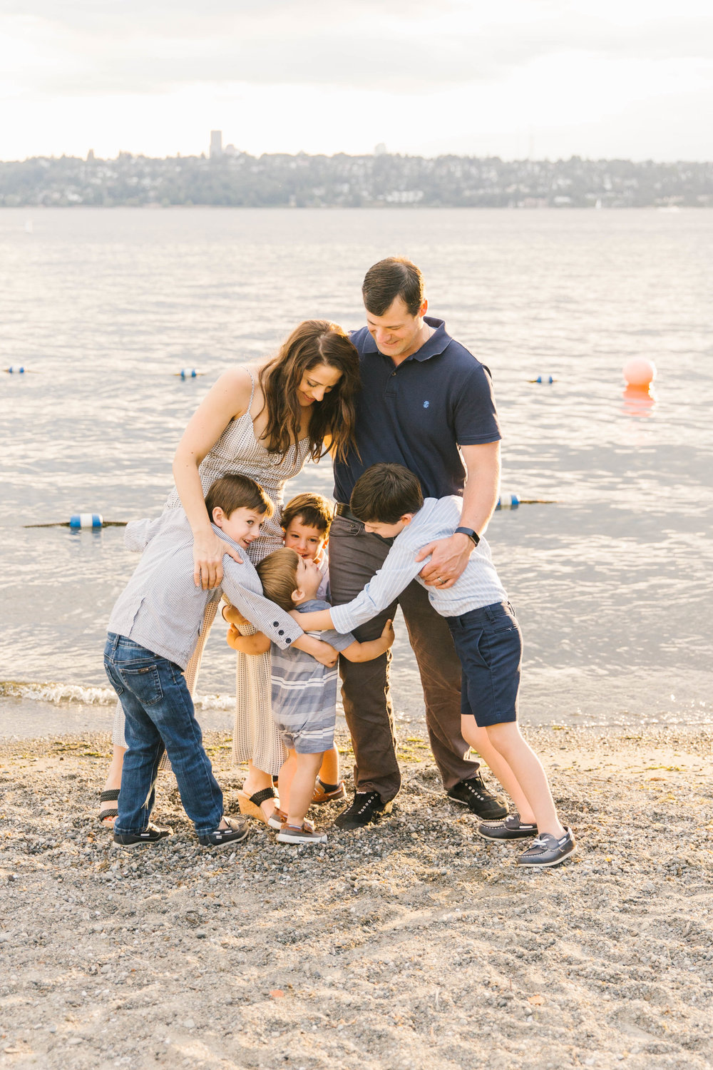 Seattle Family Photography Beach Session Golden Hour Natural Light, Mom and Boys, sunset on the water by Chelsea Macor Photography-6.jpg