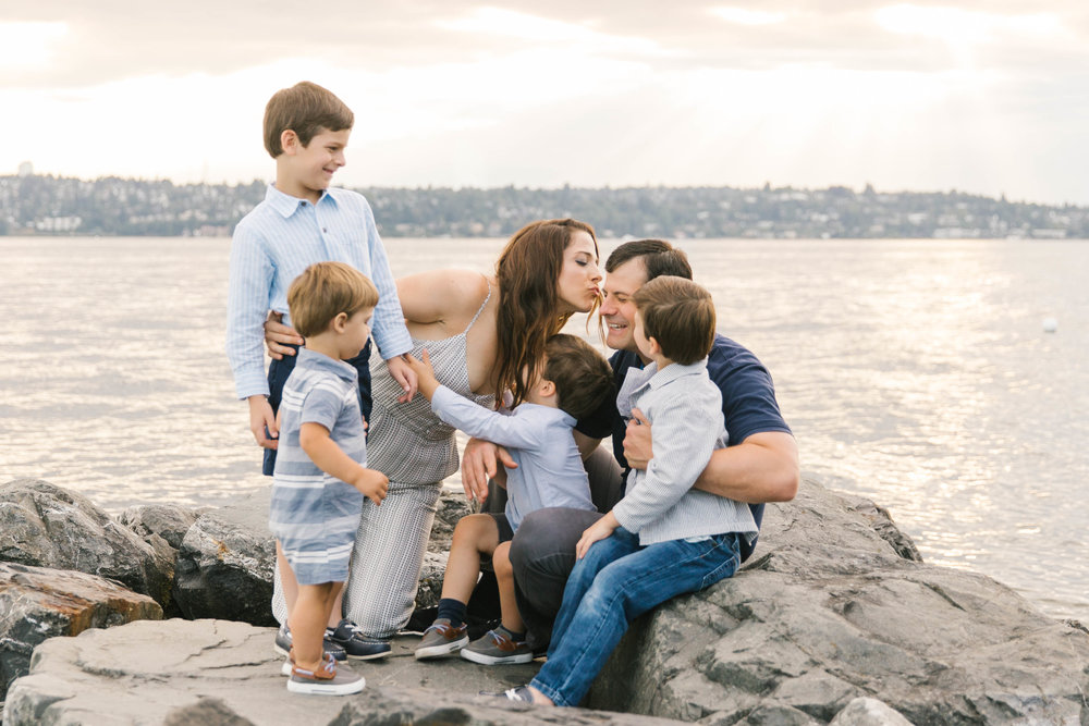 Seattle Family Photography Beach Session Golden Hour Natural Light, Mom and Boys, sunset on the water by Chelsea Macor Photography-4.jpg