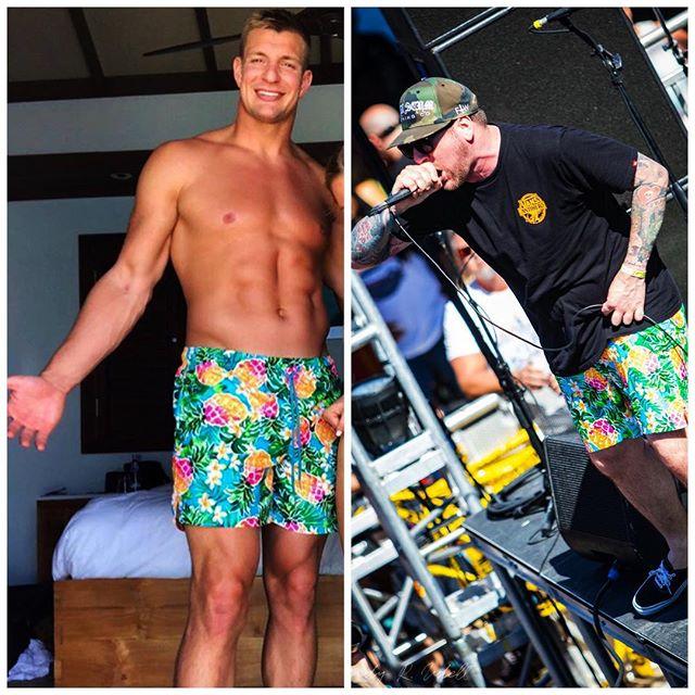Who wore the pineapple Hawaiian shorts better? @gronk or @joecotela ? #Ded #Gronk @shiprocked #shiprocked