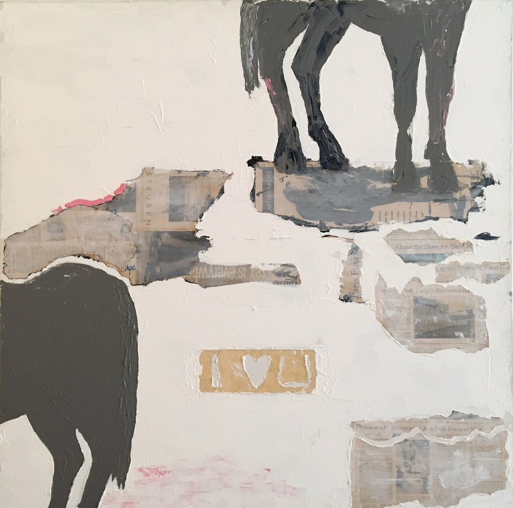 "The Last Horse   Acrylic & Mixed Media on Canvas 40""x40"""