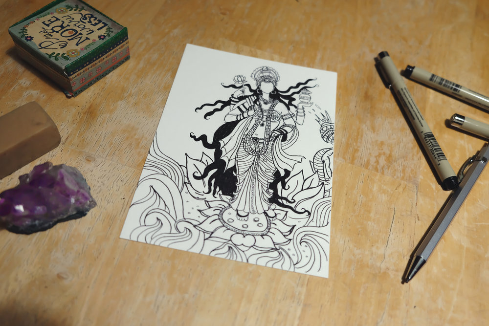 Drawing of Lakshmi using Micron pens