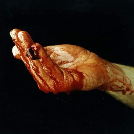 Fig.1, Nigel Rolfe,  Blood of the Beast (Blood Hand) , 1996/2015, Cibachrome on Aluminium.