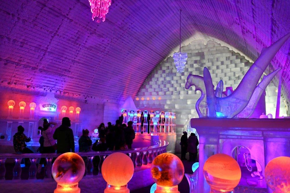 Interior ice gallery Aurora Ice Museum photo by Gary M. Karl