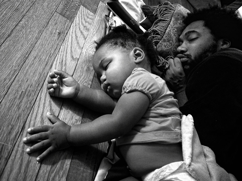 Zun Lee,  Anthony Francis falls asleep with daughter Tena in front of his TV , Camp Lejeune, NC, 2012