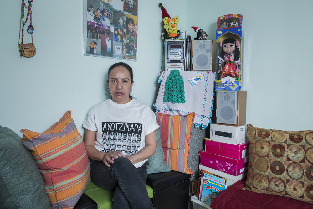 "Alicia Mendieta at her home on 62nd Street in Bay Parkway, Brooklyn. Alicia is an activist for immigrant rights in the city of New York. She has been involved in different pro-immigrant organizations. She came to the United States 16 years ago, leaving all her family back in México. Her grandchildren call her ""la abuelita de las maravillas"" (wonder Granny). She has worked mainly as a nanny."