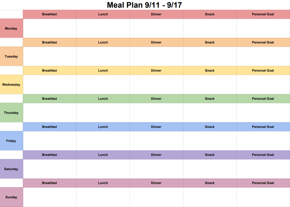 My Weekly Meal Plan Calendar
