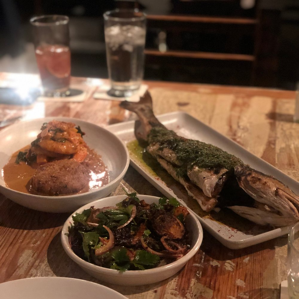 Shrimp, brussels, and whole red fish