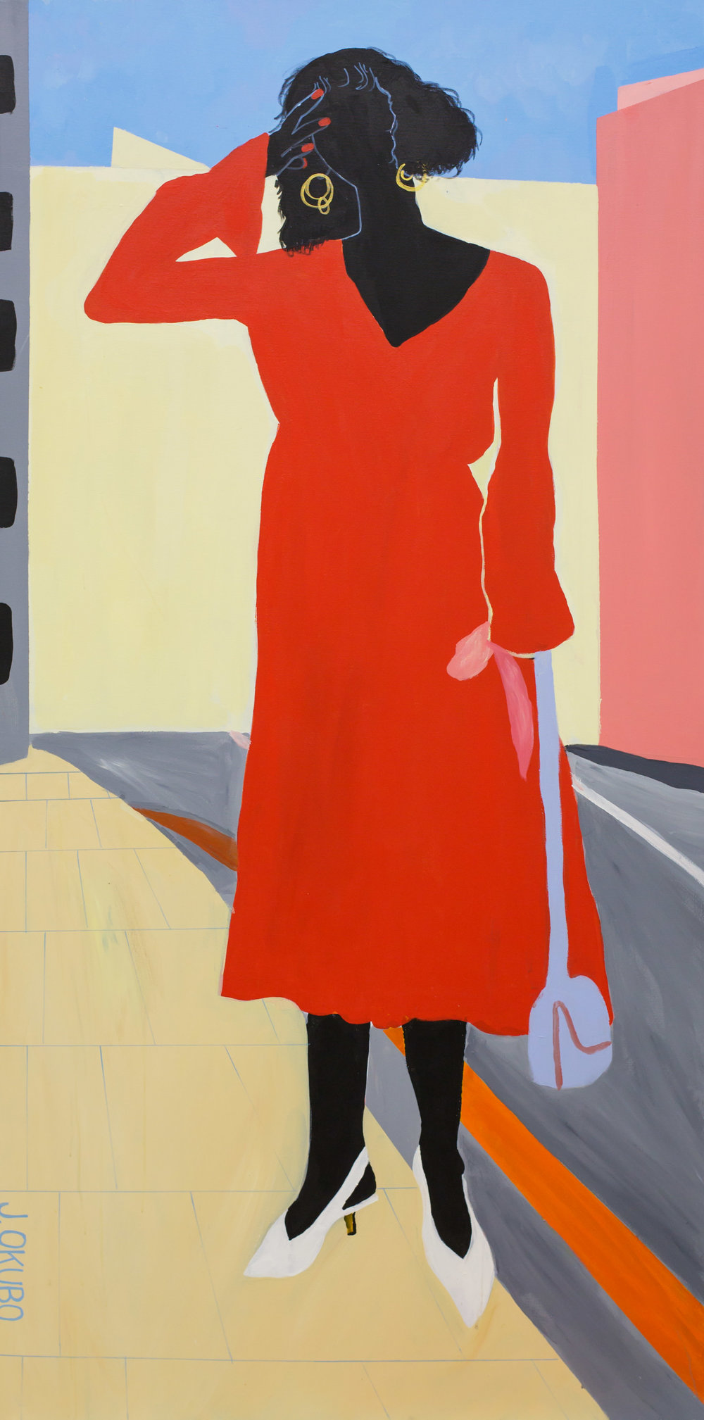 """Lady in Red  Acrylic on canvas  36""""x72""""  2018"""