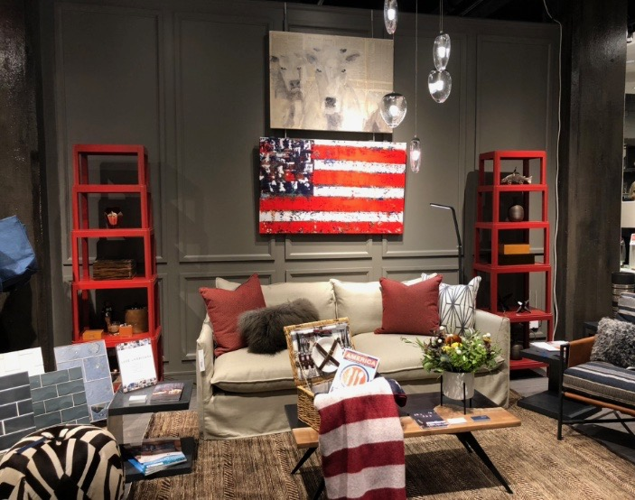 "My cow and flag ""hanging"" out together in their 'Lux Americana' vignette. Super fun to see how they put it all together!"