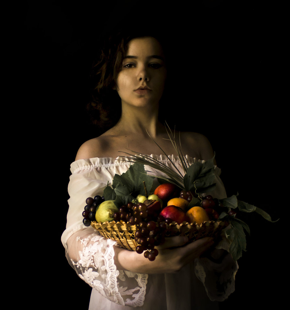 """Girl with Basket of Fruit"""