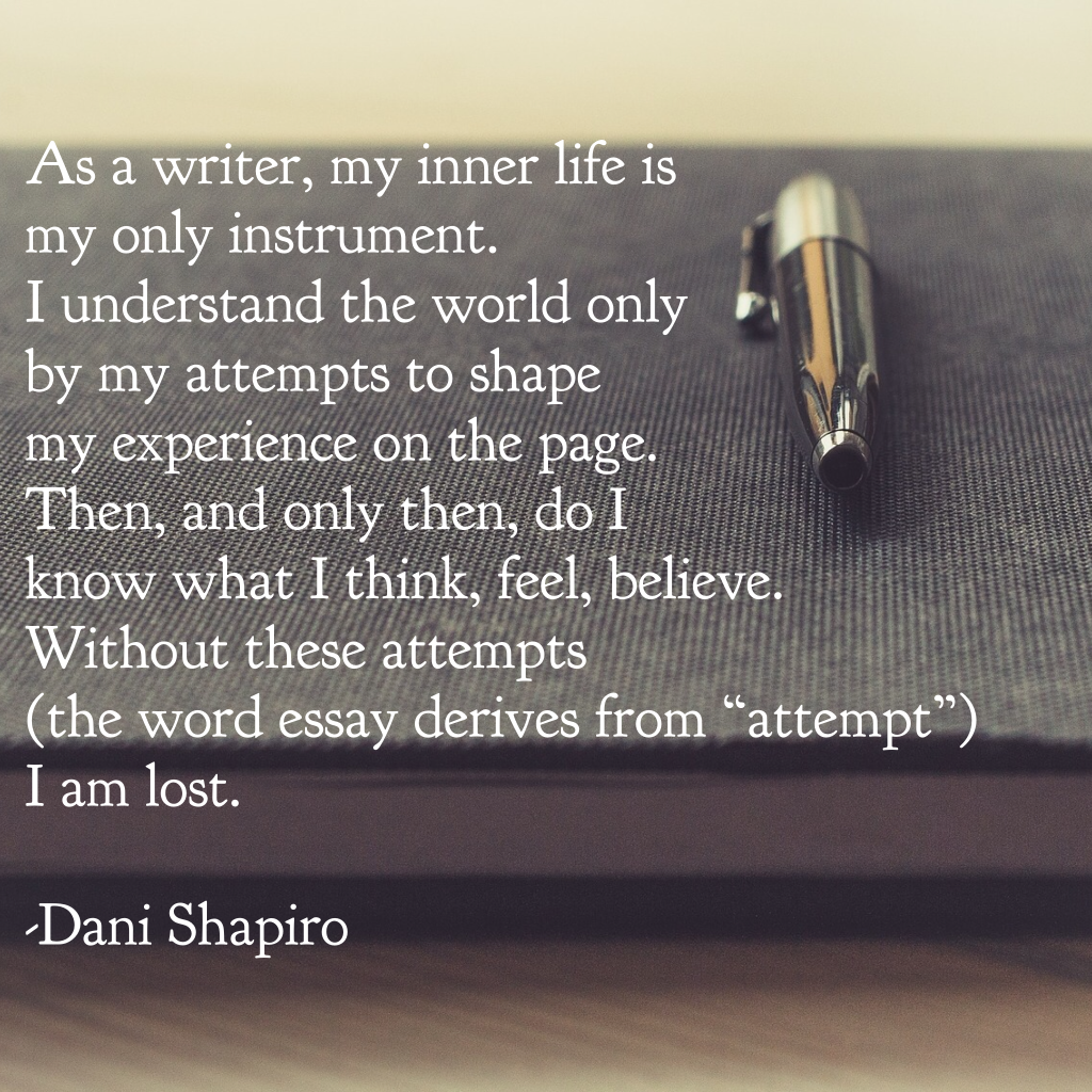 "As a writer, my inner life is my only instrument. I understand the world only by my attempts to shape my experience on the page. Then, and only then, do I know what I think, feel, believe. Without these attempts (the word essay derives from ""attempt"") I am lost. - Dani Shapiro"