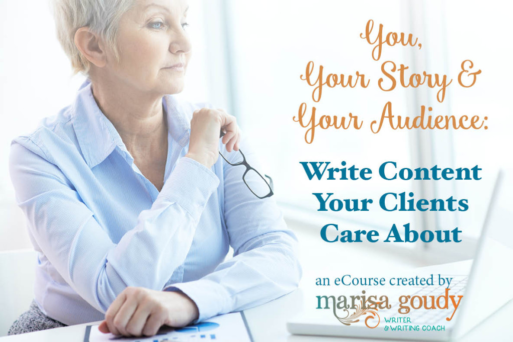 You, your story, and your audience ecourse for therapists, healers, and coaches by writing coach Marisa Goudy