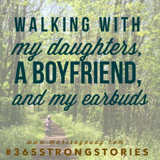 Biking with my daughters, a boyfriend, and my earbuds #365StrongStories by marisa goudy