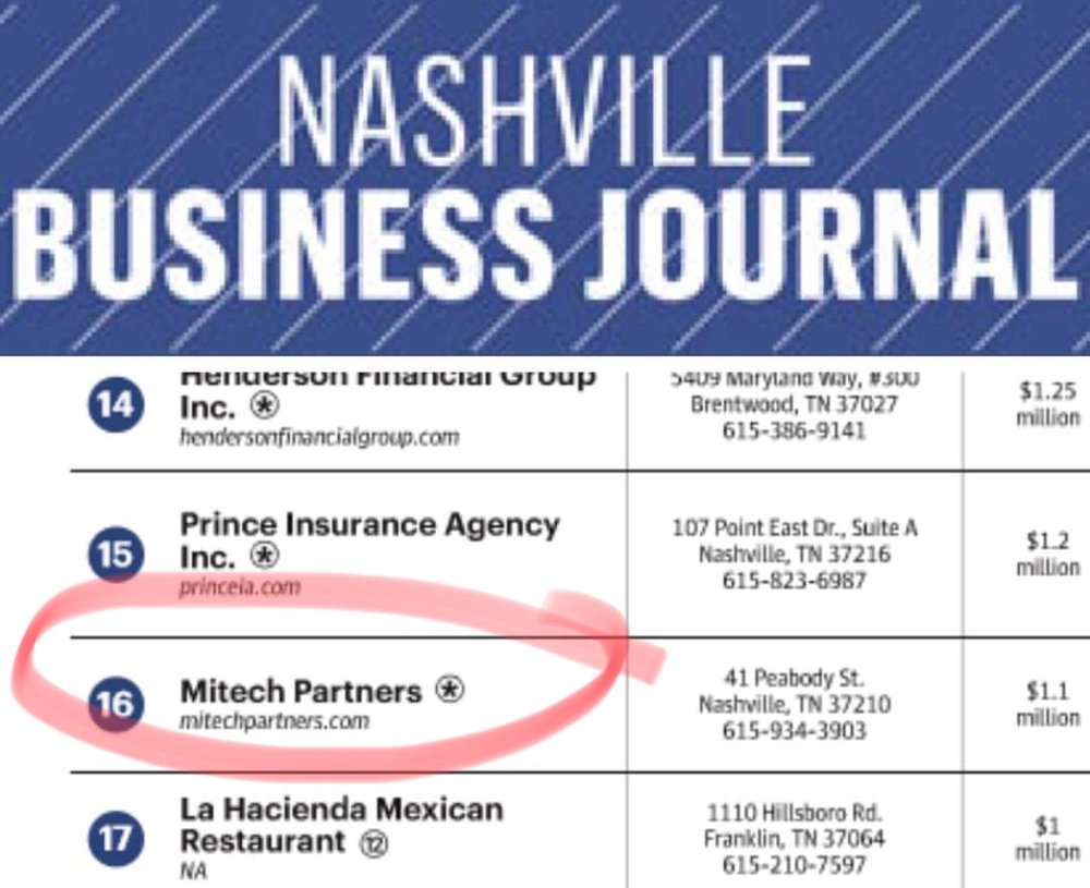 The  Nashville Business Journal   publication BOOK OF LIST ranks Mitech Partners as the 16th largest minority company in Nashville, Tennessee for 2017-2018.