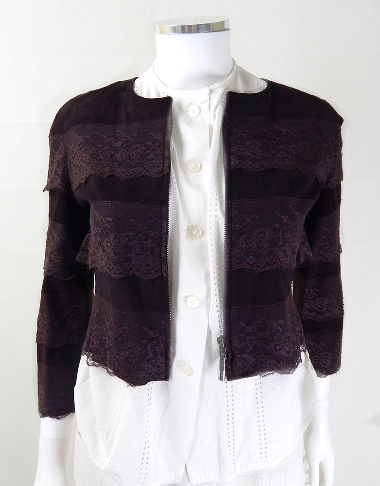 Vintage Armani Suede and Lace Crop Jacket
