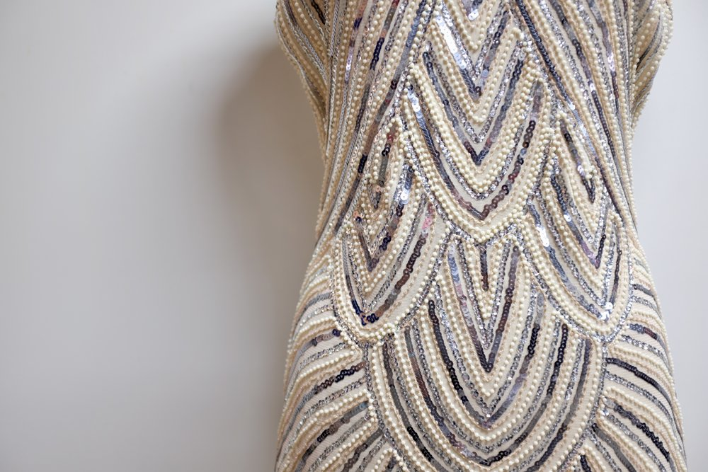 Vintage Sequined + Beaded Dress