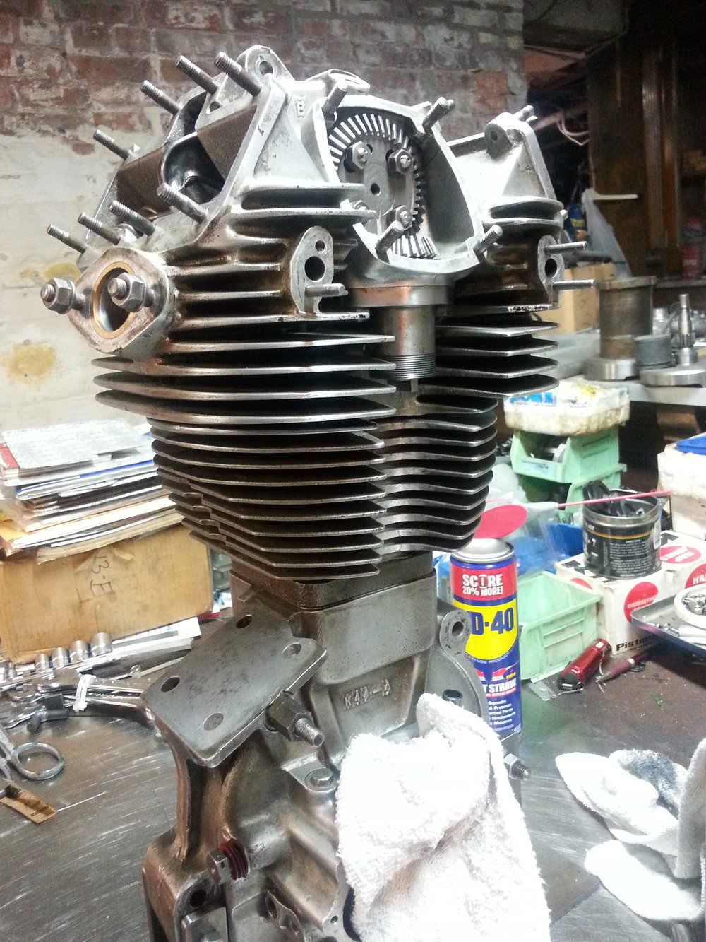 Velocette KTT engine being assembled