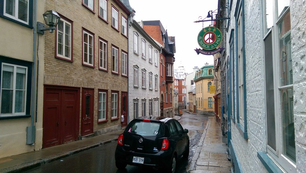1st Stop: Old Quebec City. Micra in front of the hostel as I arrive, is this a sign? After a 42 hour transit, happy to see a shower and bed. I was so tired I skipped dinner which doesn't happen often!