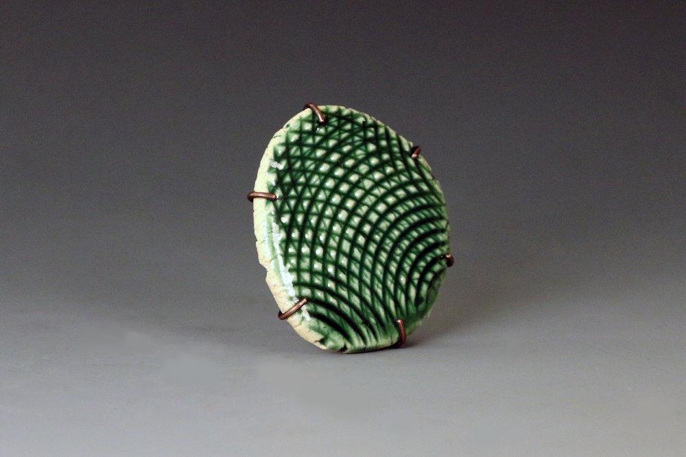 Glaze Test ceramic, copper Brooch 2016
