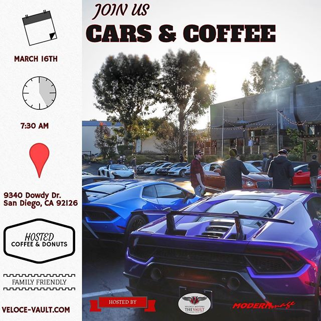 🏎 If you are in the San Diego area tomorrow morning, please join us at The Vault Cars & Coffee Event!! Hosted Coffee ☕️ & donuts 🍩 👇🏻👇🏻👇🏻👇🏻 @7:30 am  9340 Dowdy Dr.  See you there!! 😉#luxecarcollective #thevaultcarsandcoffee #racecars #visit #rental #2019 #sandiego #coffee #donuts #familyfriendly #saturday #miramar #cars #modernimage #carclub