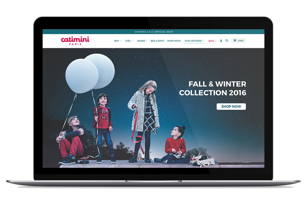 Visual Design for Retail - I worked for over a year with the Catimini brand. A large portion of my job was visual design and I gave a complete facelift to the website. I also merged the backend of the site from Magento to Shopify to work better for mobile experiences and had a hand in navigation decisions. I created Email campaigns and other marketing assets for the brand as well. I worked on all aspects of the product from frontend to back and added key features that our users needed for flow of the checkout process as well as some to showcase the quality of our brand such as a personalized lookbook for our campaigns.