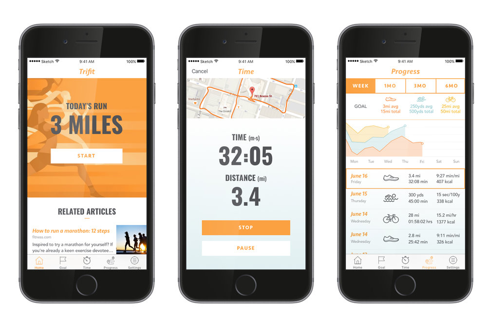App Idea to Prototype - I created a fitness tracking app based on triathlon training but for the novice athlete- somebody getting back into fitness. Through competitive analysis, user research, and quick prototyping I was able to come up with a solution to meet my target user's needs. The solution including narrowing down the navigation needs to order of importance, clarifying the home screen to maximize goals and activities, as well as having clear and easy activity recording and progress tracking. I simultaneously worked on the visual design to create a full prototype of the app.