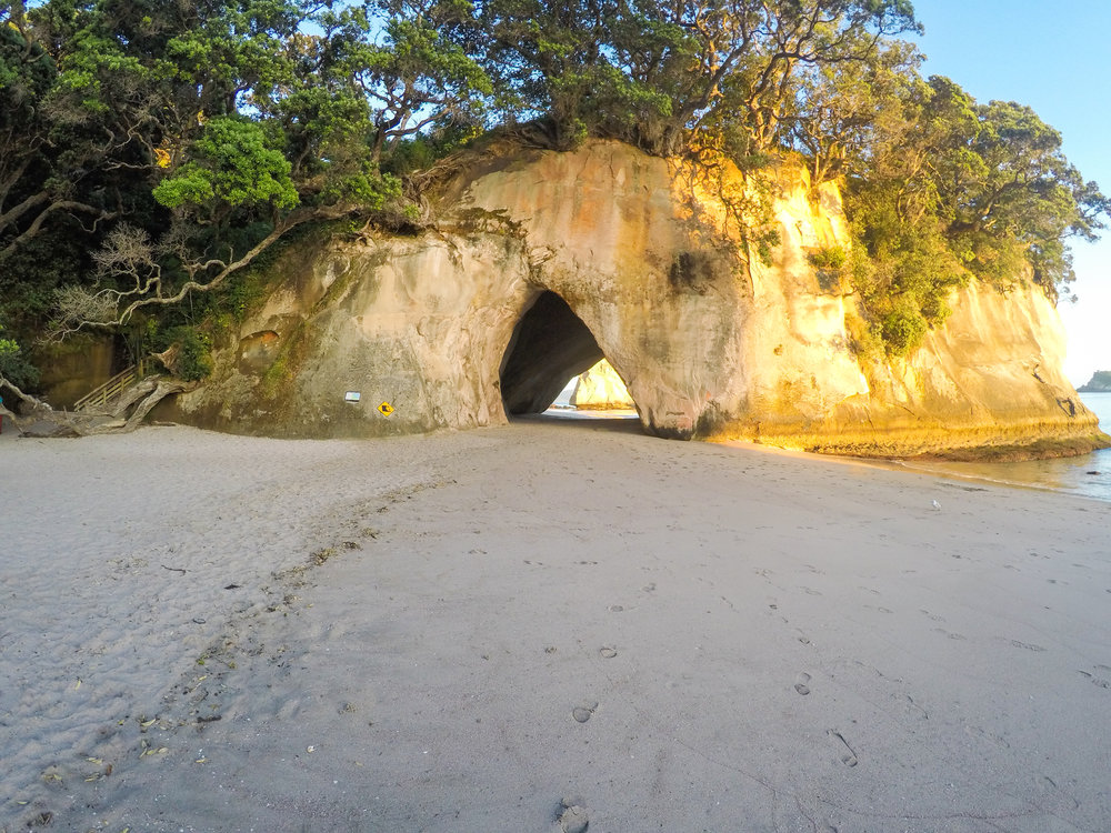 Sunrise at Cathedral Cove in the North Island of New Zealand